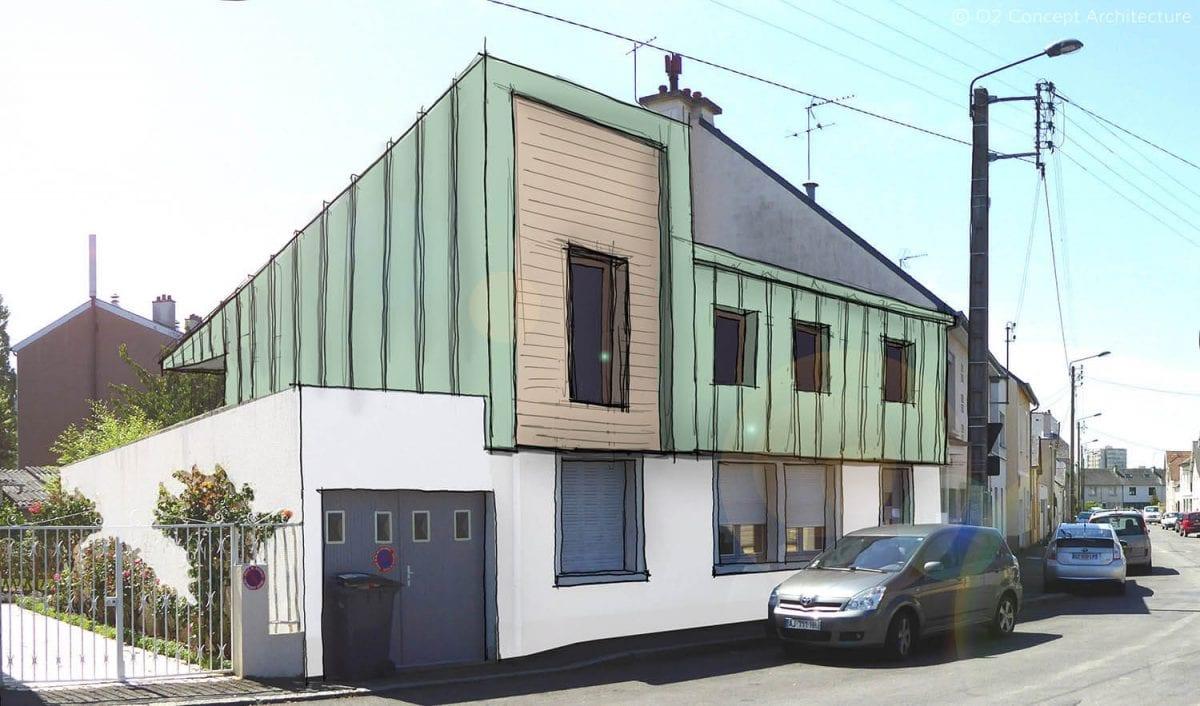 Extension sur l vation o2 concept architecture - Surelevation de toiture ...